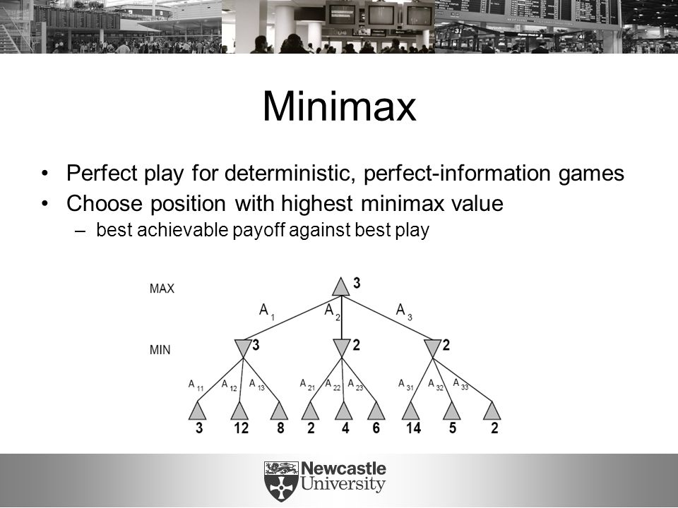 Minimax Perfect play for deterministic, perfect-information games Choose position with highest minimax value –best achievable payoff against best play