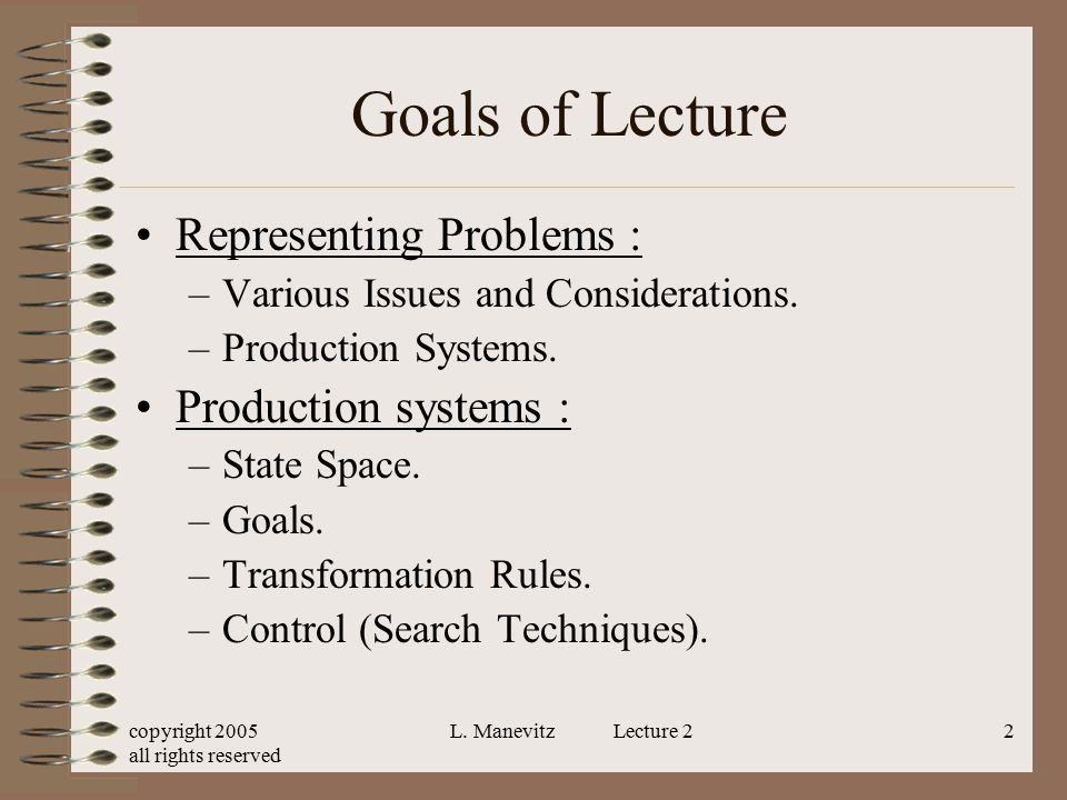 copyright 2005 all rights reserved L.Manevitz Lecture 243 Example cont.