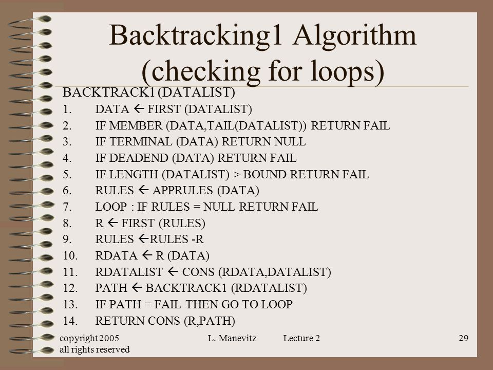 copyright 2005 all rights reserved L. Manevitz Lecture 229 Backtracking1 Algorithm (checking for loops) BACKTRACK1 (DATALIST) 1.DATA  FIRST (DATALIST