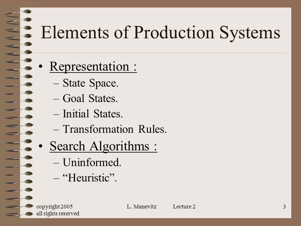 copyright 2005 all rights reserved L. Manevitz Lecture 23 Elements of Production Systems Representation : –State Space. –Goal States. –Initial States.