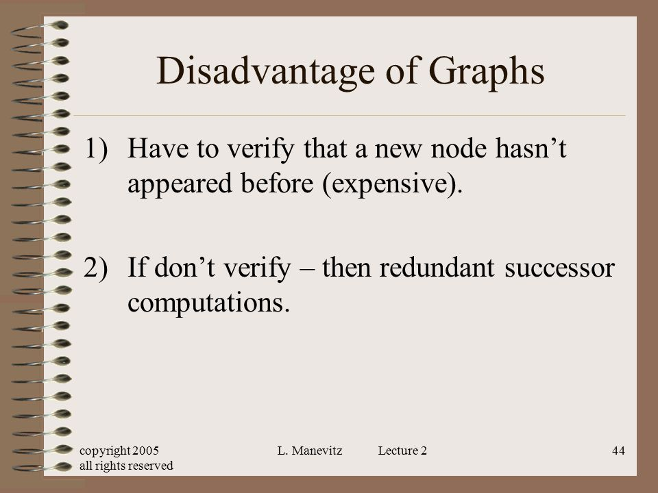 copyright 2005 all rights reserved L. Manevitz Lecture 244 Disadvantage of Graphs 1)Have to verify that a new node hasn't appeared before (expensive).