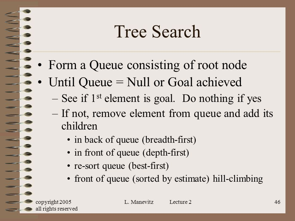 copyright 2005 all rights reserved L. Manevitz Lecture 246 Tree Search Form a Queue consisting of root node Until Queue = Null or Goal achieved –See i