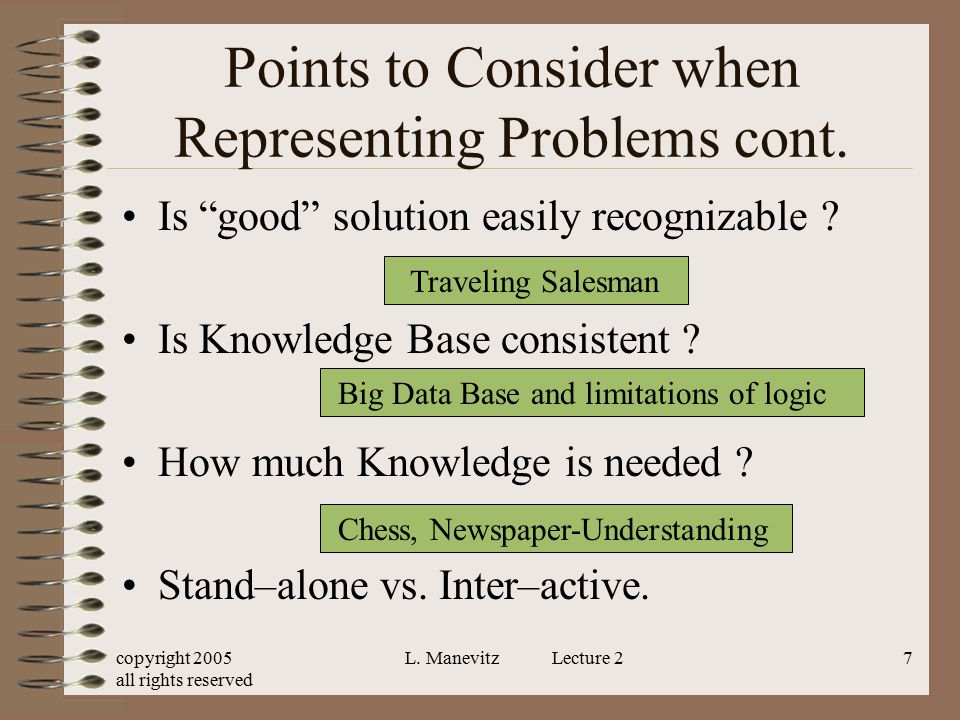 """copyright 2005 all rights reserved L. Manevitz Lecture 27 Points to Consider when Representing Problems cont. Is """"good"""" solution easily recognizable ?"""