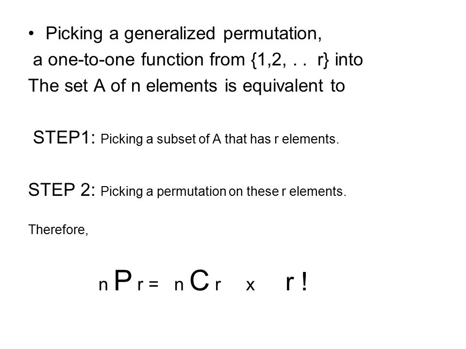 Picking a generalized permutation, a one-to-one function from {1,2,..