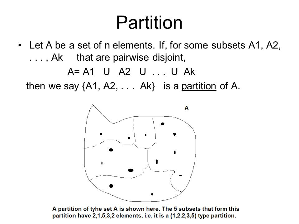 Partition Let A be a set of n elements. If, for some subsets A1, A2,..., Ak that are pairwise disjoint, A= A1 U A2 U... U Ak then we say {A1, A2,... A