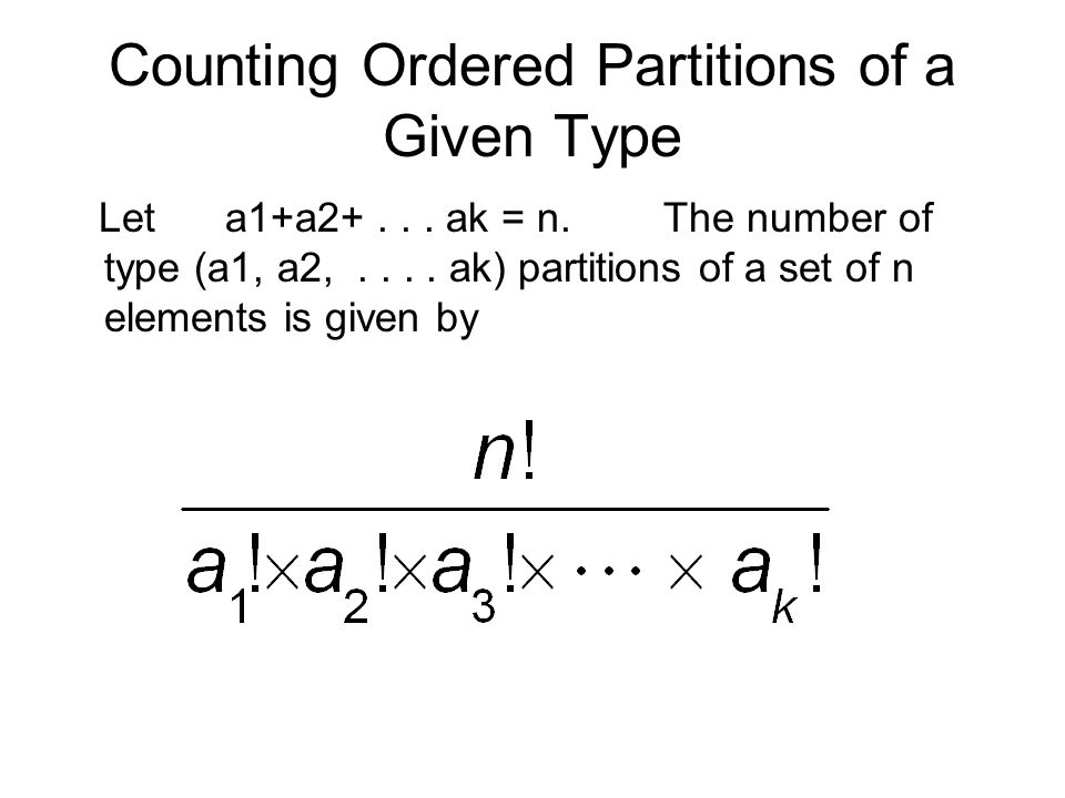 Counting Ordered Partitions of a Given Type Let a1+a2+...