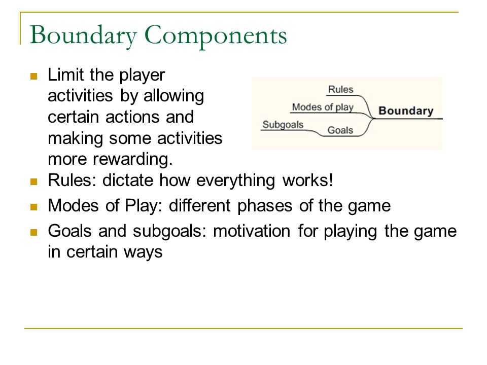 Boundary Components Limit the player activities by allowing certain actions and making some activities more rewarding. Rules: dictate how everything w