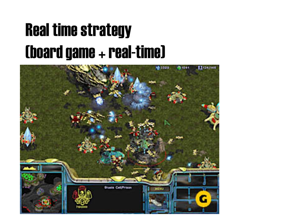 Real time strategy (board game + real-time)