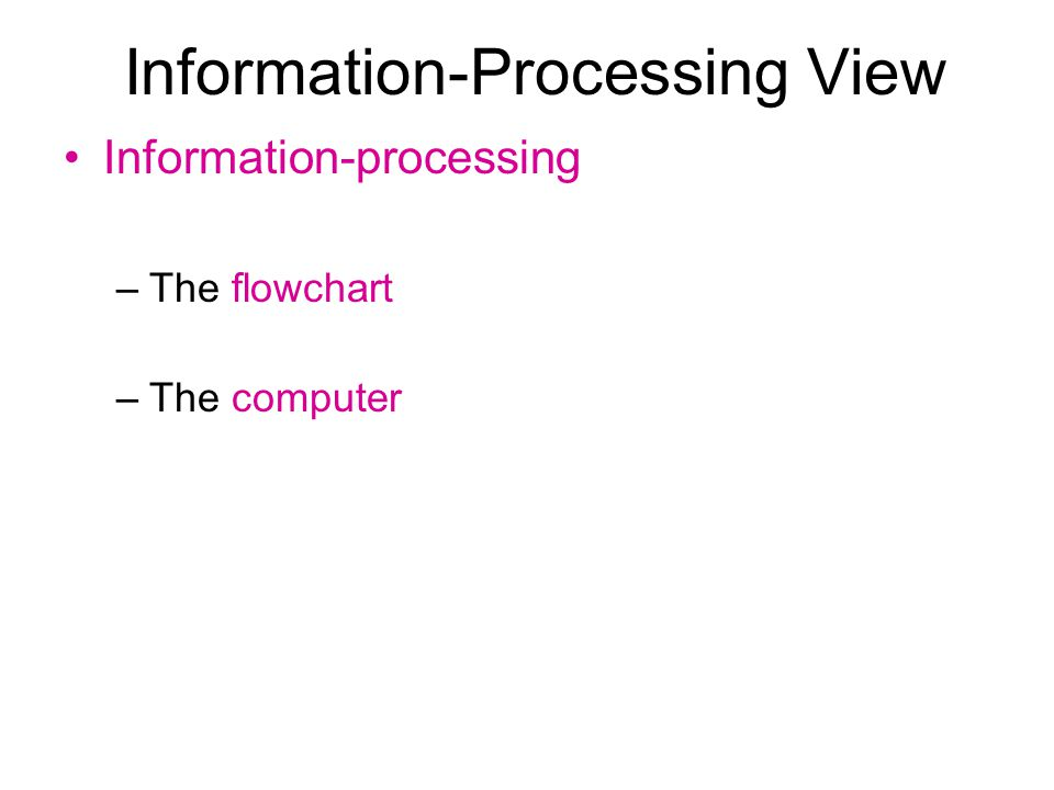 Information-Processing View Information-processing –The flowchart –The computer