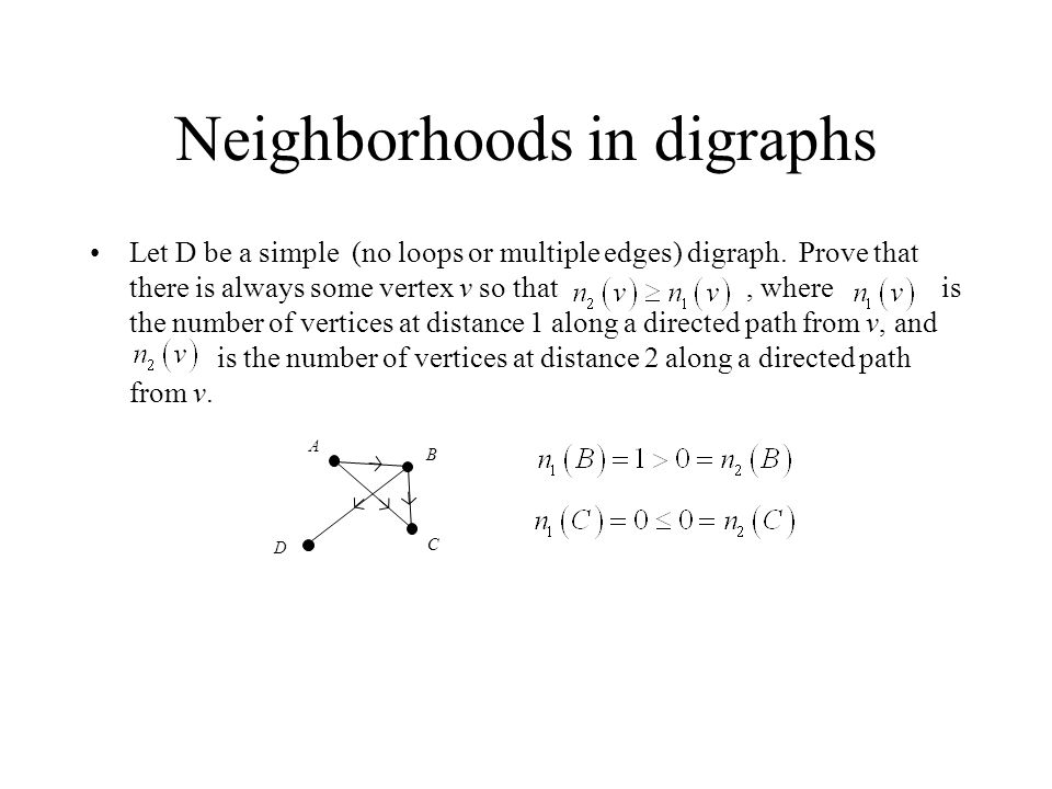 Neighborhoods in digraphs Let D be a simple (no loops or multiple edges) digraph. Prove that there is always some vertex v so that, where is the numbe