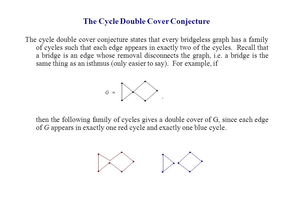 The cycle double cover conjecture states that every bridgeless graph has a family of cycles such that each edge appears in exactly two of the cycles.