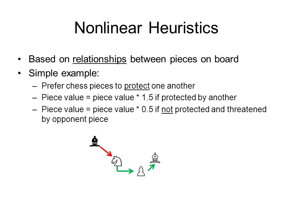 Nonlinear Heuristics Based on relationships between pieces on board Simple example: –Prefer chess pieces to protect one another –Piece value = piece value * 1.5 if protected by another –Piece value = piece value * 0.5 if not protected and threatened by opponent piece