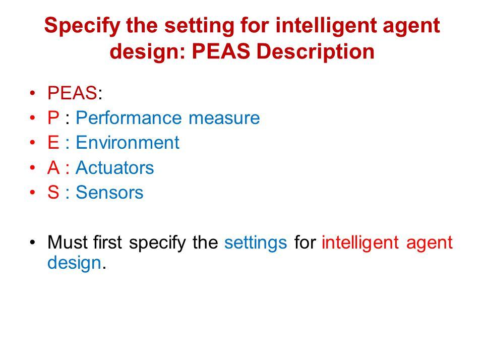Specify the setting for intelligent agent design: PEAS Description PEAS: P : Performance measure E : Environment A : Actuators S : Sensors Must first