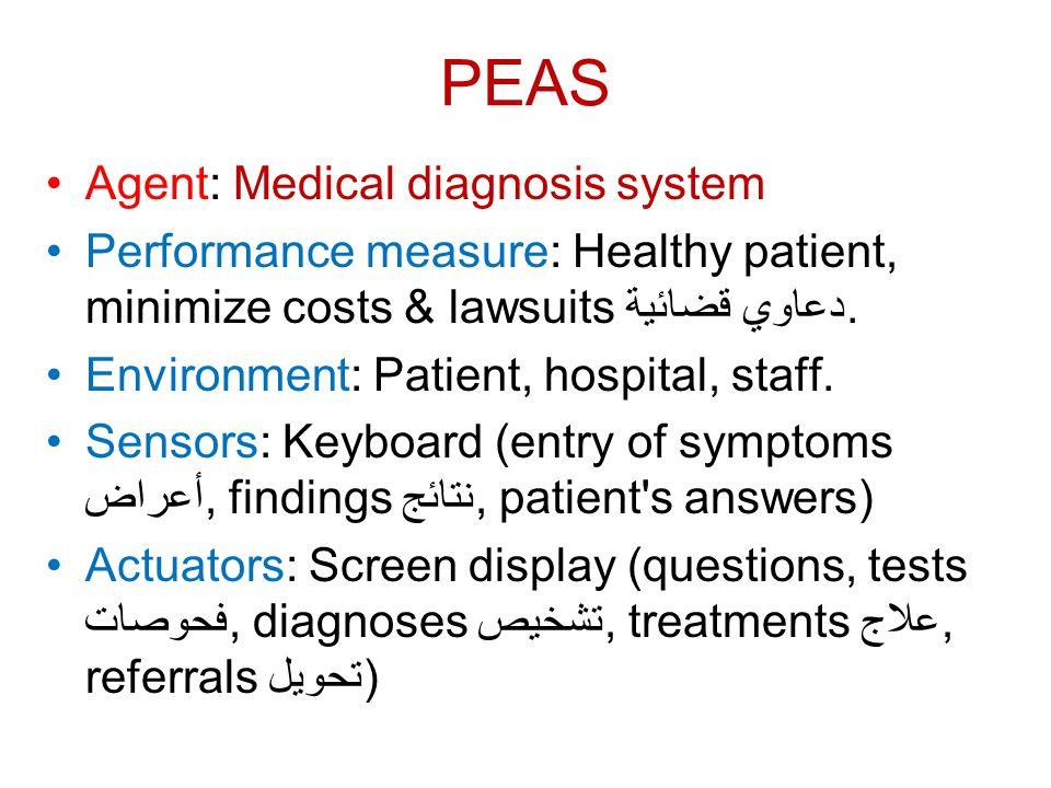 PEAS Agent: Medical diagnosis system Performance measure: Healthy patient, minimize costs & lawsuits دعاوي قضائية. Environment: Patient, hospital, sta