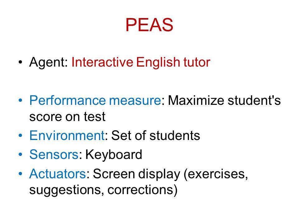 PEAS Agent: Interactive English tutor Performance measure: Maximize student's score on test Environment: Set of students Sensors: Keyboard Actuators: