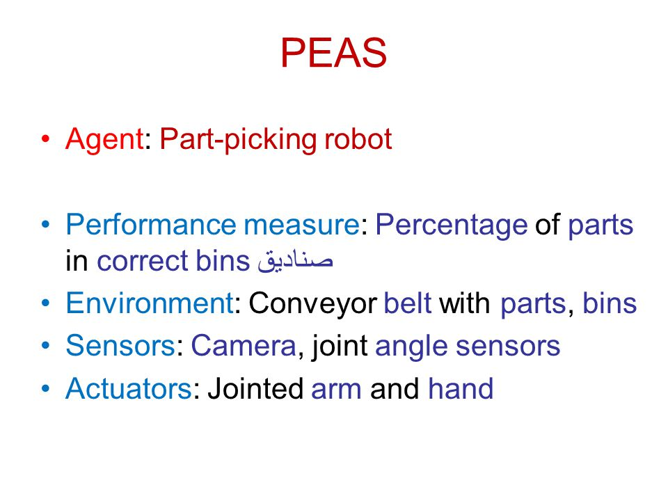 PEAS Agent: Part-picking robot Performance measure: Percentage of parts in correct bins صناديق Environment: Conveyor belt with parts, bins Sensors: Ca