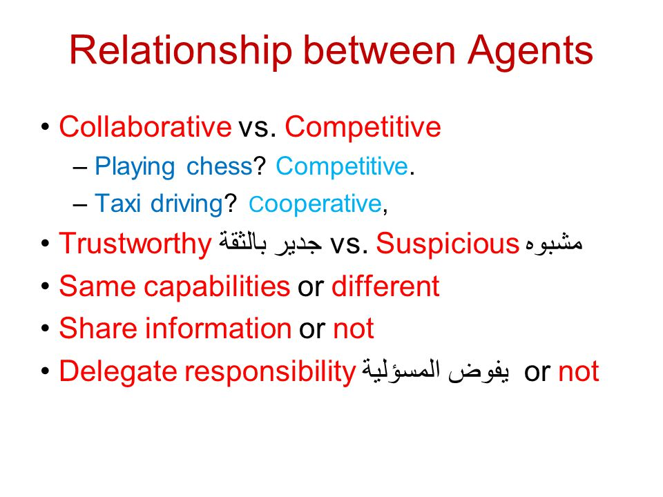 Relationship between Agents Collaborative vs. Competitive – Playing chess? Competitive. – Taxi driving? C ooperative, Trustworthy جدير بالثقة vs. Susp