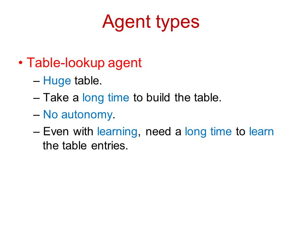 Agent types Table-lookup agent – Huge table. – Take a long time to build the table. – No autonomy. – Even with learning, need a long time to learn the