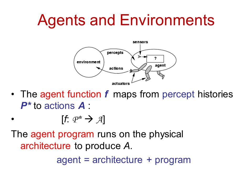 Agents and Environments The agent function f maps from percept histories P* to actions A : [f: P*  A ] The agent program runs on the physical archite