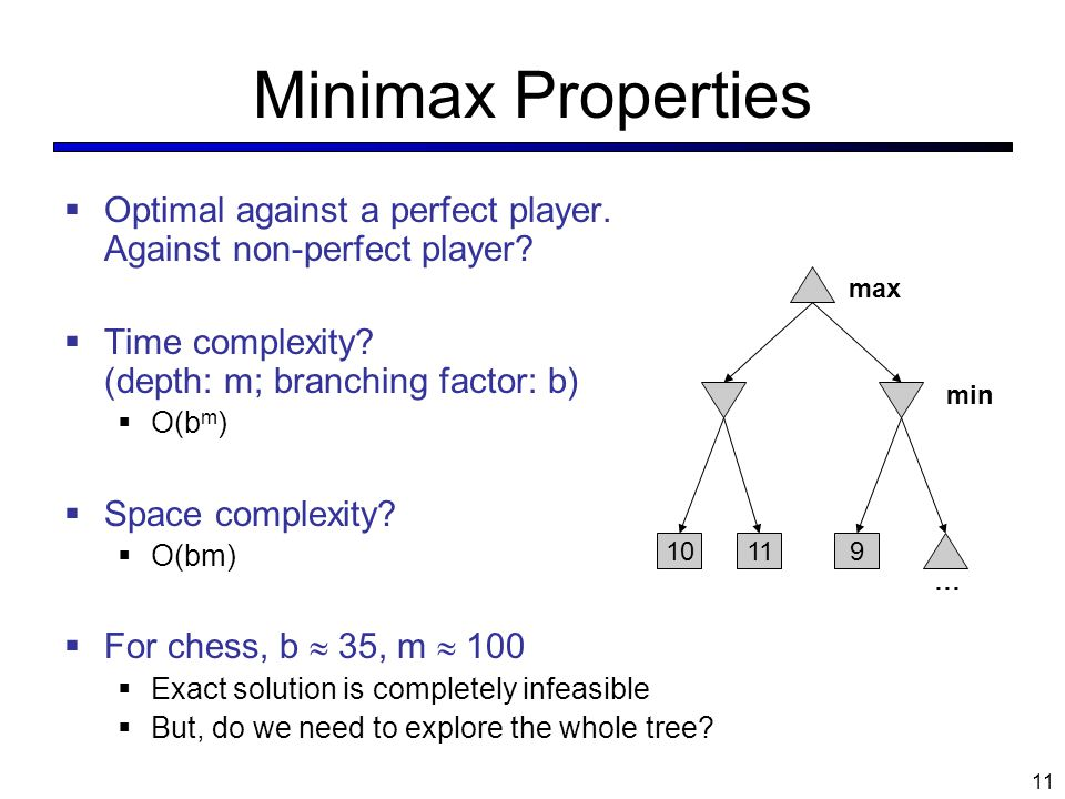 Minimax Properties  Optimal against a perfect player. Against non-perfect player?  Time complexity? (depth: m; branching factor: b)  O(b m )  Spac