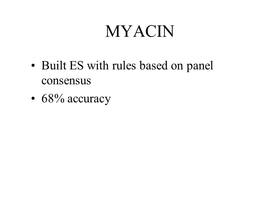 MYACIN Built ES with rules based on panel consensus 68% accuracy