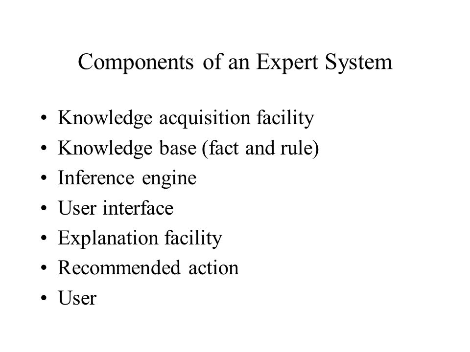 Components of an Expert System Knowledge acquisition facility Knowledge base (fact and rule) Inference engine User interface Explanation facility Recommended action User