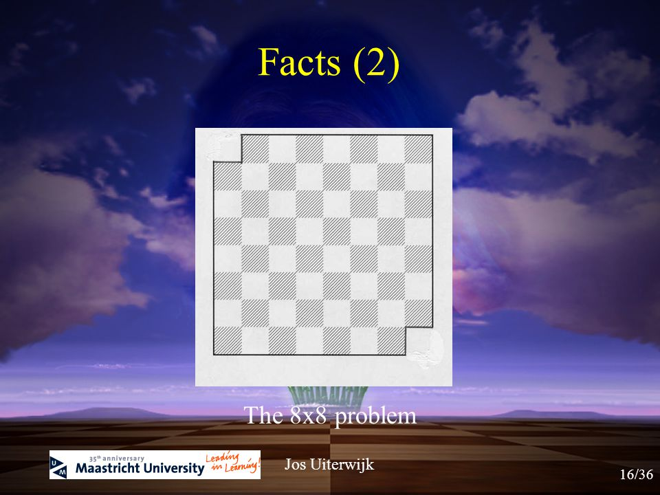 "The ""mutilated chess board"" problems: Can I put domino stones (of 2 x 1 size) in such a way on the board that all squares are covered? Jos Uiterwijk F"
