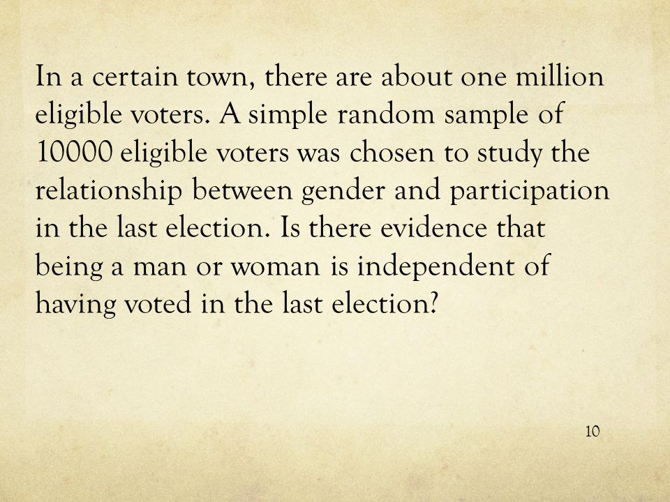 In a certain town, there are about one million eligible voters. A simple random sample of 10000 eligible voters was chosen to study the relationship b