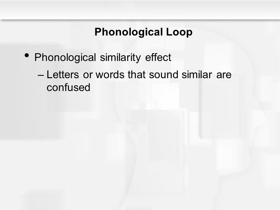 Phonological Loop Phonological similarity effect –Letters or words that sound similar are confused