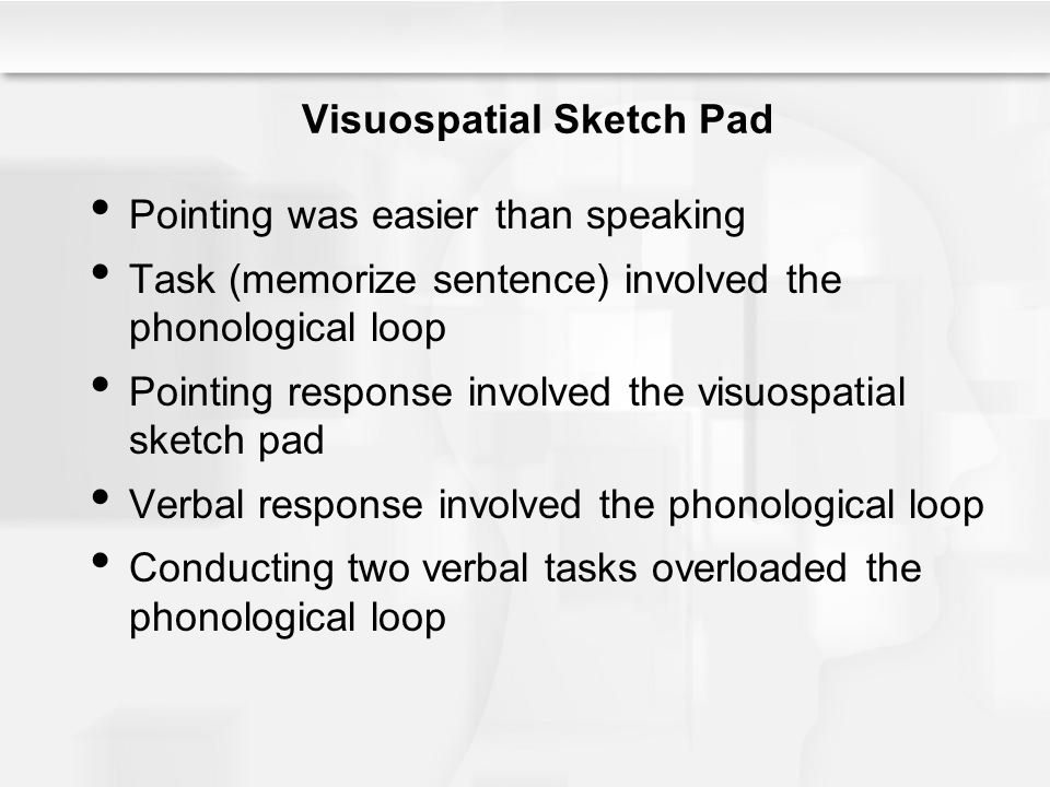 Visuospatial Sketch Pad Pointing was easier than speaking Task (memorize sentence) involved the phonological loop Pointing response involved the visuo