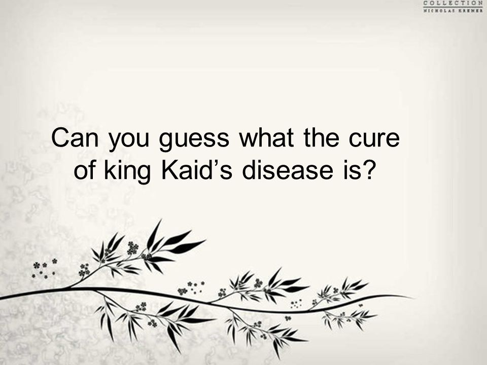Can you guess what the cure of king Kaid's disease is?
