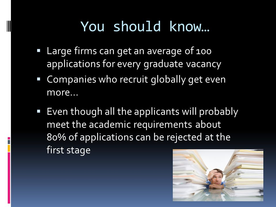 Reasons for rejection  Spelling mistakes  Poor grammar  CVs too long  CVs too short  CVs not targeted  Covering letters not addressed properly  Covering letters not concise  Questions on application forms not answered fully  Skills claimed but not substantiated  Not following instructions on the application form