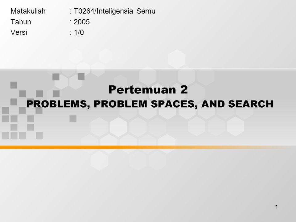 1 Pertemuan 2 PROBLEMS, PROBLEM SPACES, AND SEARCH Matakuliah: T0264/Inteligensia Semu Tahun: 2005 Versi: 1/0