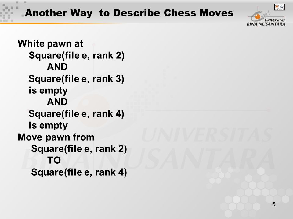 6 Another Way to Describe Chess Moves White pawn at Square(file e, rank 2) AND Square(file e, rank 3) is empty AND Square(file e, rank 4) is empty Move pawn from Square(file e, rank 2) TO Square(file e, rank 4)