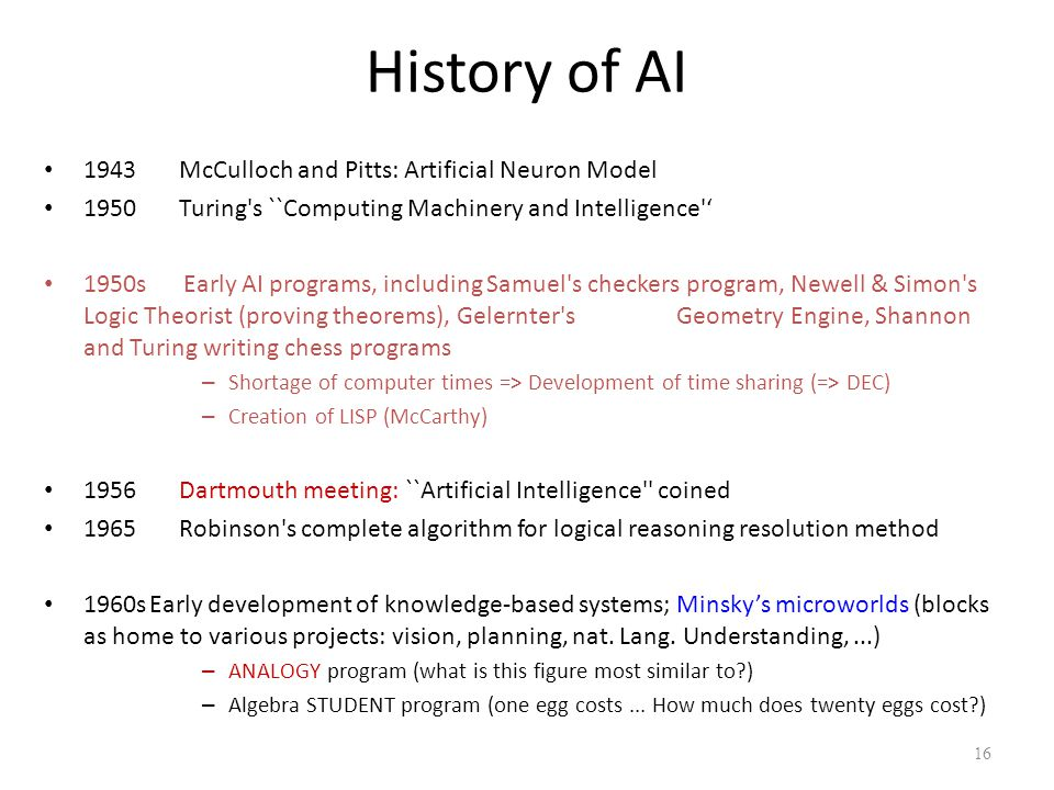 History of AI 1943 McCulloch and Pitts: Artificial Neuron Model 1950 Turing's ``Computing Machinery and Intelligence'' 1950s Early AI programs, includ