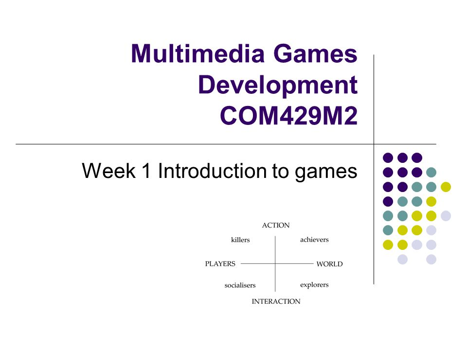 Multimedia Games Development COM429M2 Week 1 Introduction to games