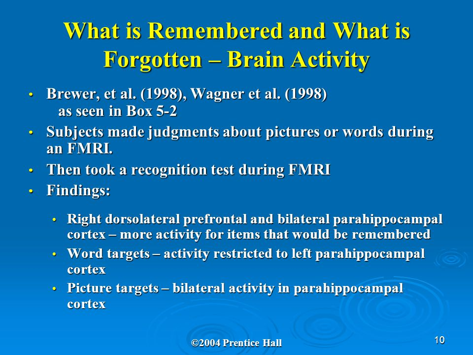 10 What is Remembered and What is Forgotten – Brain Activity Brewer, et al.