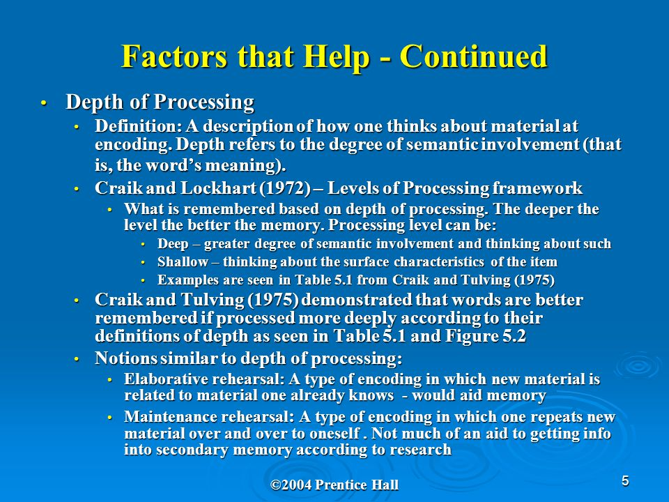 5 Factors that Help - Continued Depth of Processing Depth of Processing Definition: A description of how one thinks about material at encoding.