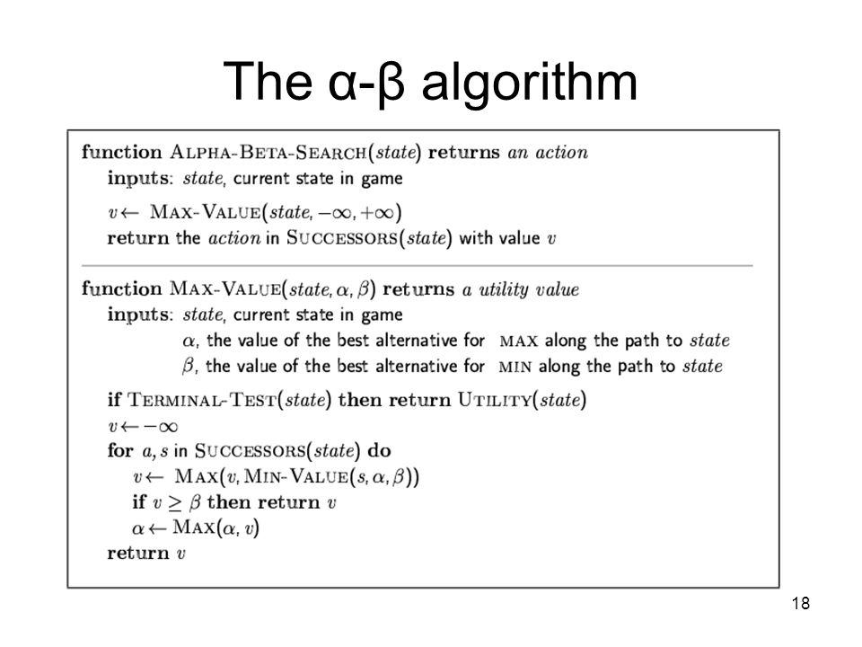18 The α-β algorithm