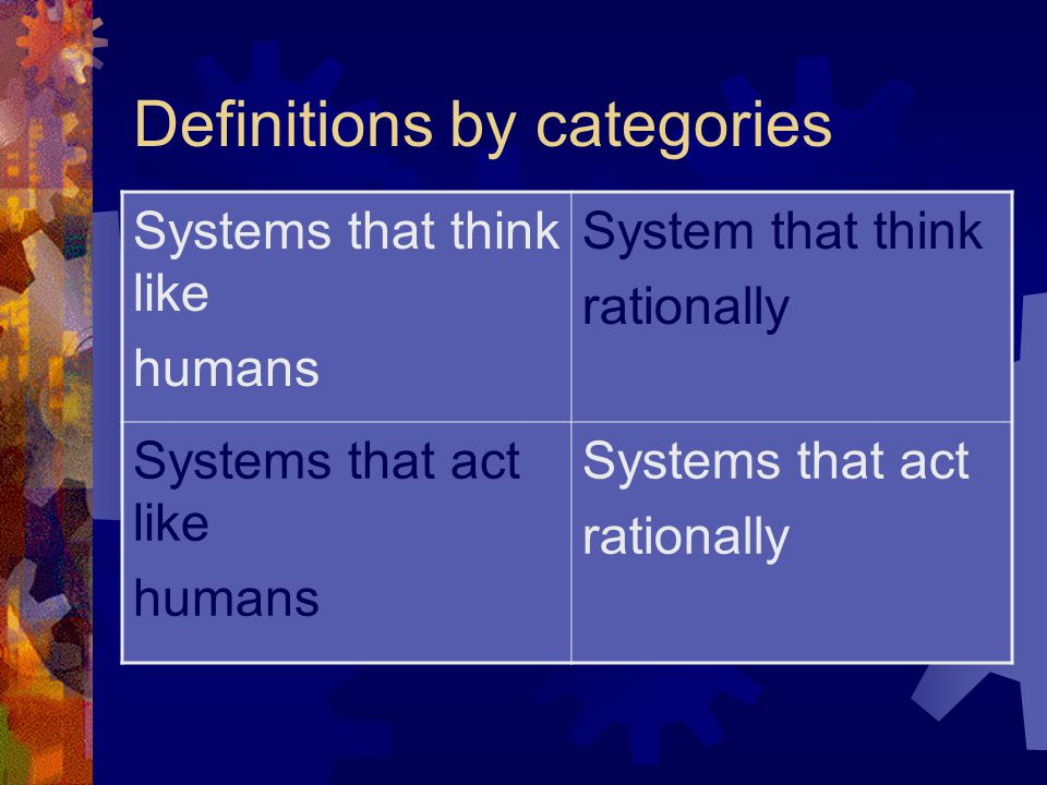 Definitions by categories Systems that think like humans System that think rationally Systems that act like humans Systems that act rationally