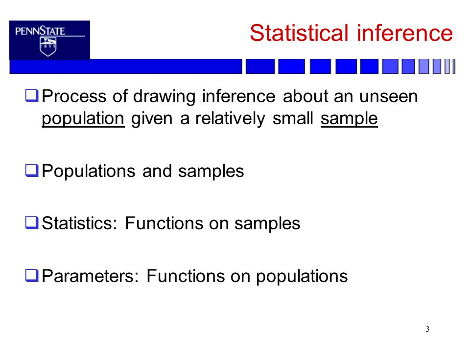 3 Statistical inference  Process of drawing inference about an unseen population given a relatively small sample  Populations and samples  Statistics: Functions on samples  Parameters: Functions on populations