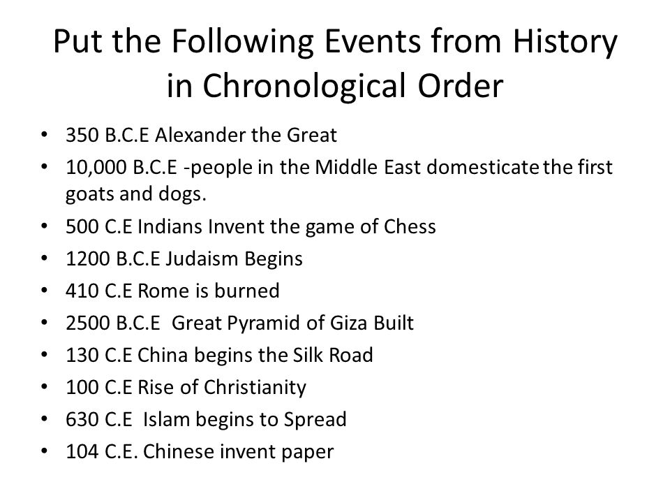 Put the Following Events from History in Chronological Order 350 B.C.E Alexander the Great 10,000 B.C.E -people in the Middle East domesticate the fir