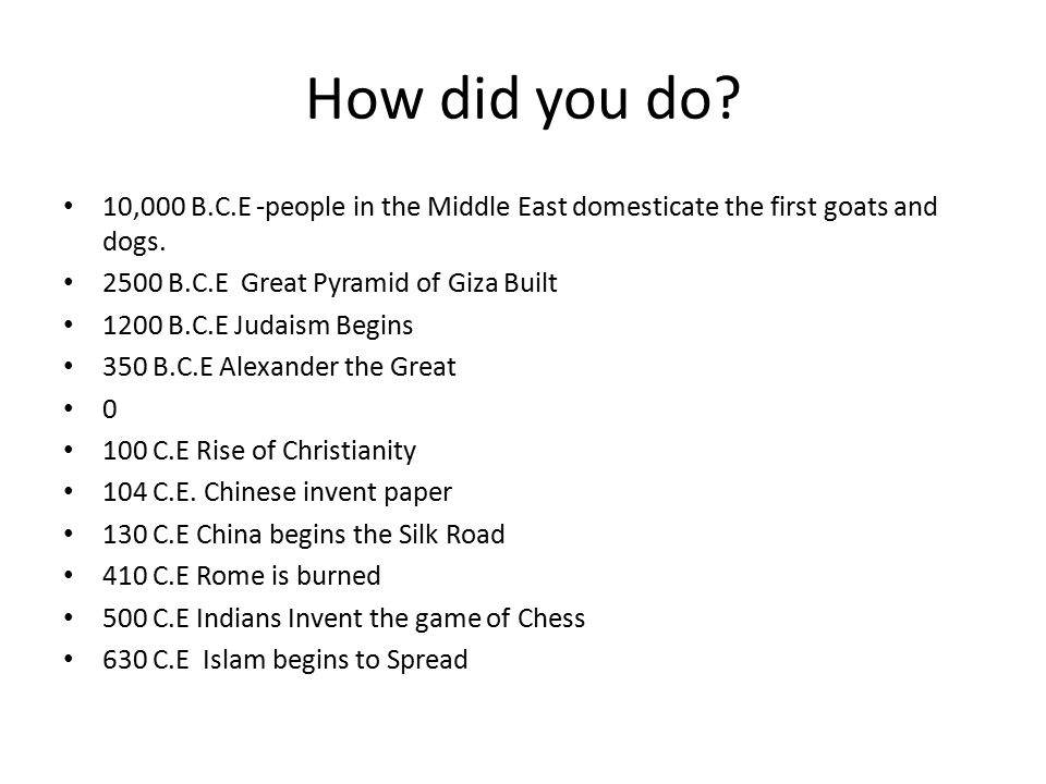 How did you do? 10,000 B.C.E -people in the Middle East domesticate the first goats and dogs. 2500 B.C.E Great Pyramid of Giza Built 1200 B.C.E Judais