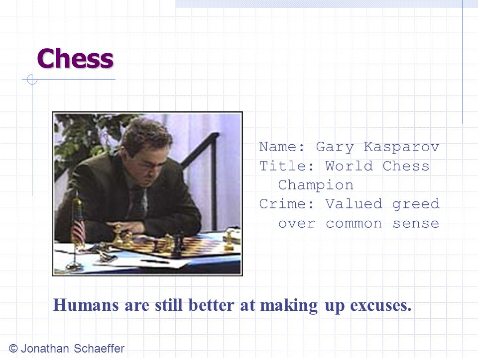 Chess Name: Gary Kasparov Title: World Chess Champion Crime: Valued greed over common sense Humans are still better at making up excuses.