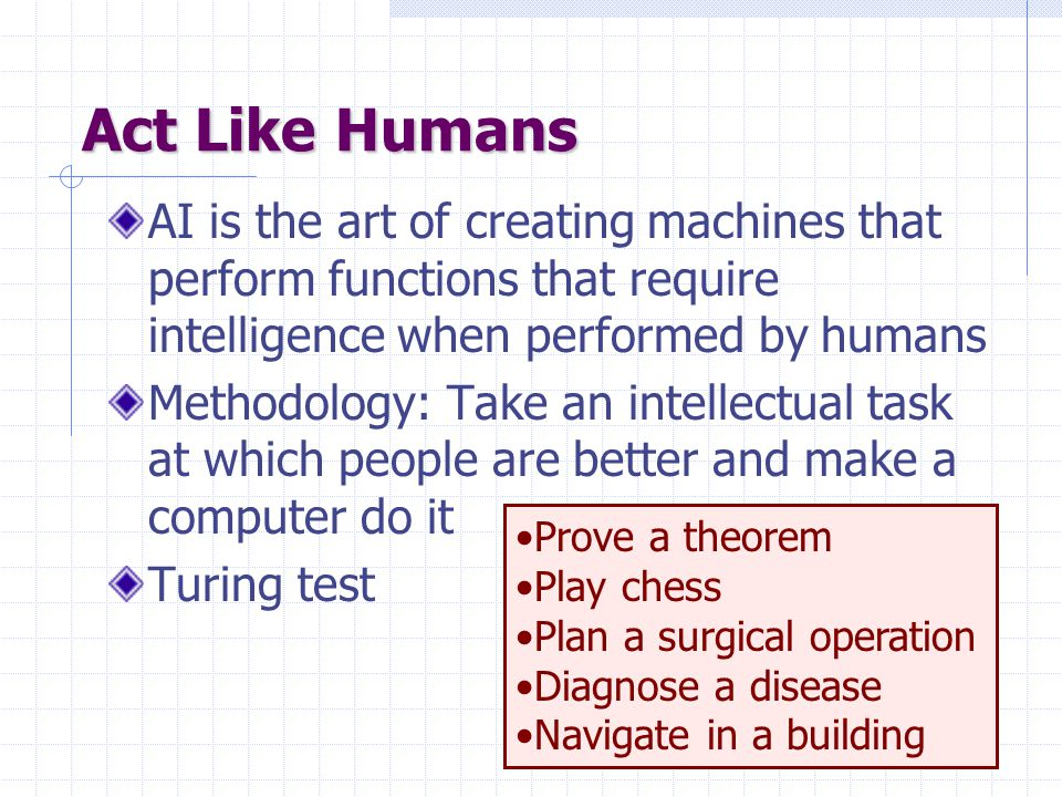 Turing Test Human imitation test Loebner contestLoebner contest: Modern version of Turing Test, held annually, with a $100,000 prize.