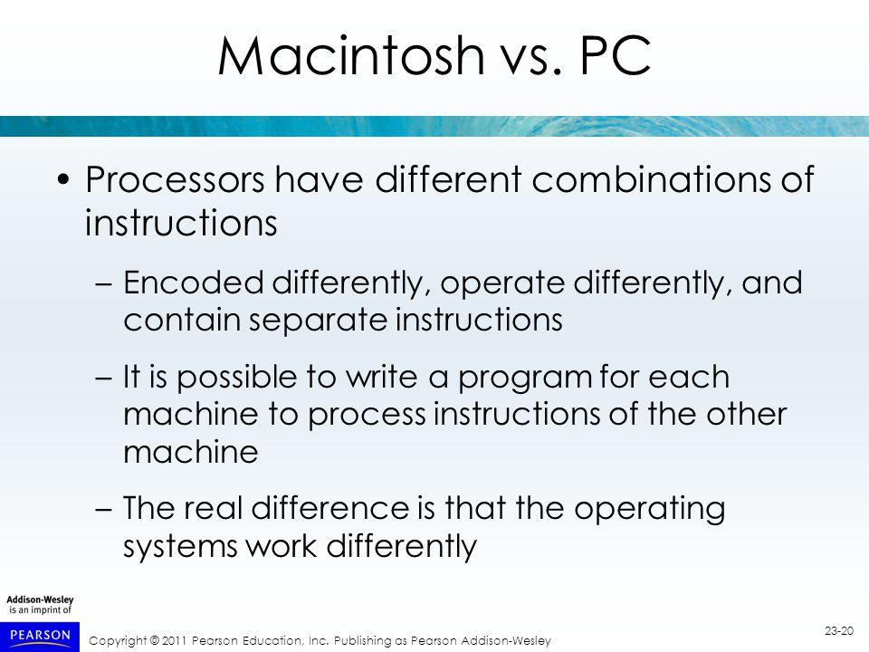Copyright © 2011 Pearson Education, Inc. Publishing as Pearson Addison-Wesley 23-20 Macintosh vs.