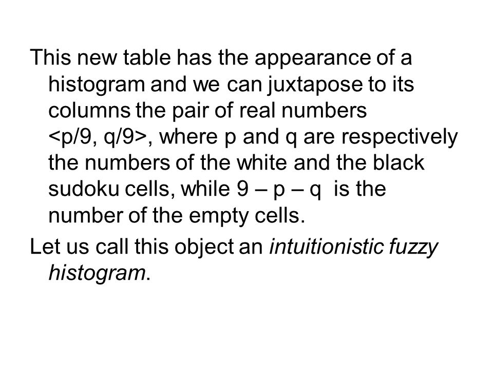 This new table has the appearance of a histogram and we can juxtapose to its columns the pair of real numbers, where p and q are respectively the numbers of the white and the black sudoku cells, while 9 – p – q is the number of the empty cells.
