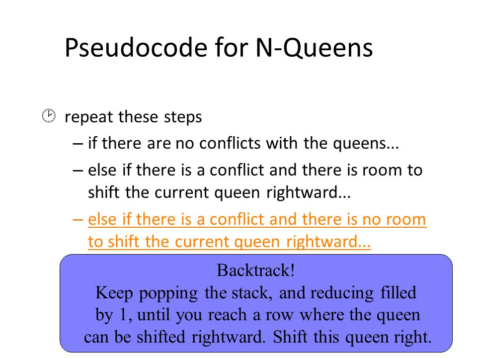 Pseudocode for N-Queens  repeat these steps – if there are no conflicts with the queens... – else if there is a conflict and there is room to shift t