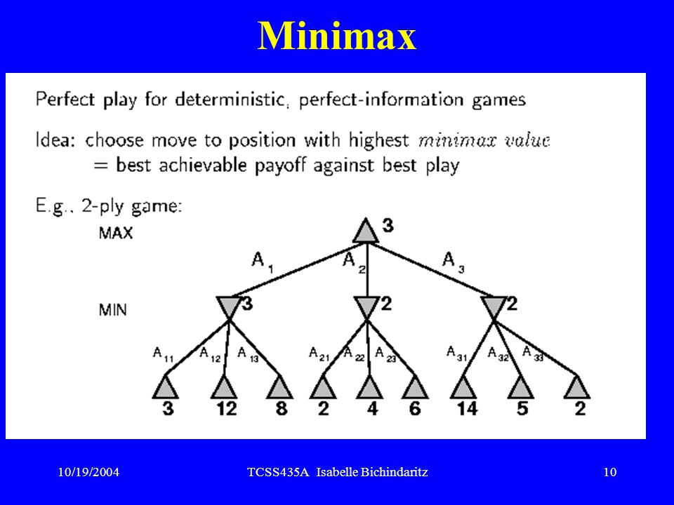 10/19/2004TCSS435A Isabelle Bichindaritz9 Minimax Perfect play for deterministic, perfect-information games Choose move to position with highest minimax value = best achievable payoff against best play Simple example: 2-ply game, a ply being a half-move Game ends after one move each by MAX and MIN (one move deep)