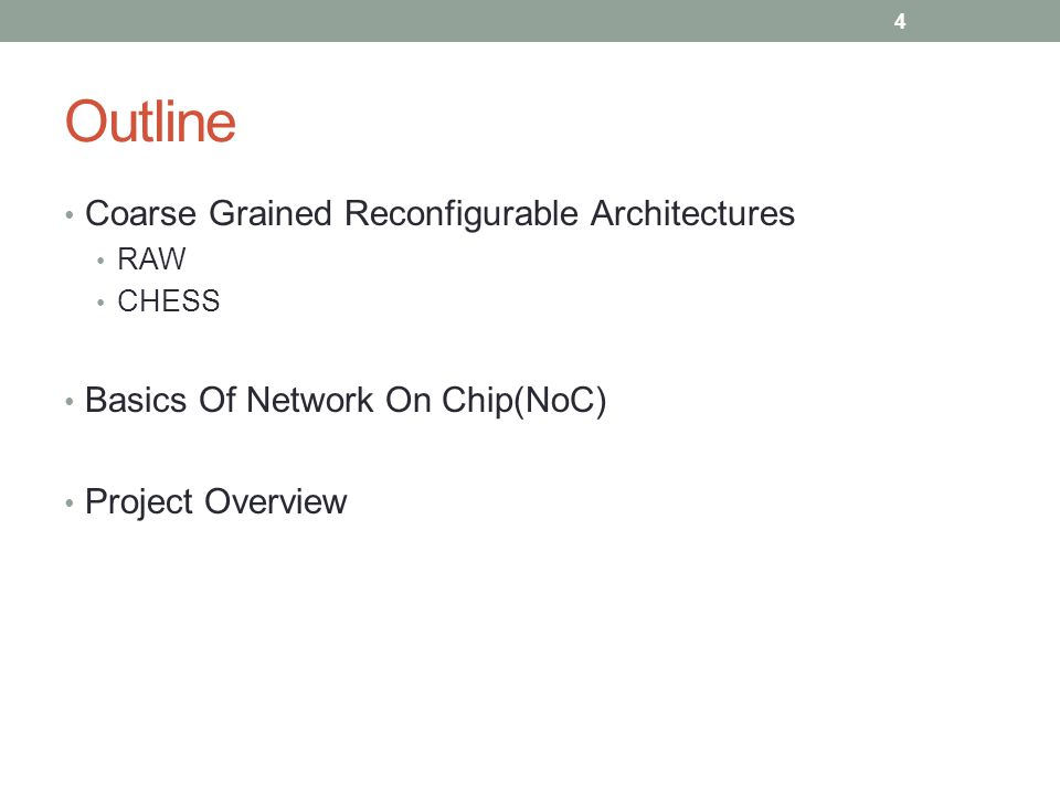 Outline Coarse Grained Reconfigurable Architectures RAW CHESS Basics Of Network On Chip(NoC) Project Overview 4